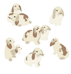 set of cute funny bunnies cute hand drawn design vector image