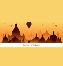 bagan myanmar landmarks silhouette sunrise vector image vector image