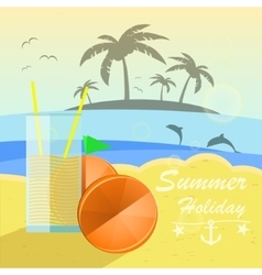 Beautiful seaside view with oranges and juice vector image vector image