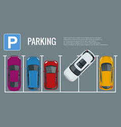 city parking lot with a set of vector image