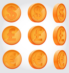 coin in different angles vector image vector image