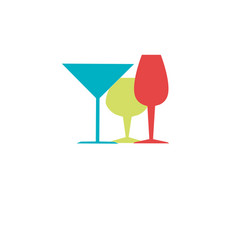Color silhouette with liquor cups vector