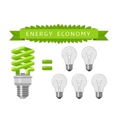 Electric energy economy of light bulbs vector image