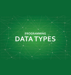 programming data types white text vector image vector image