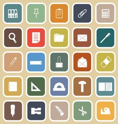 Stationary flat icons on yellow background vector image vector image