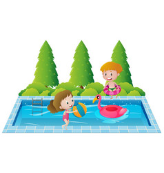 Two kids swimming in the pool vector
