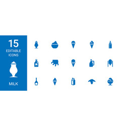 15 milk icons vector