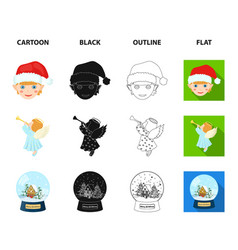 angel glass bowl gingerbread and bell cartoon vector image