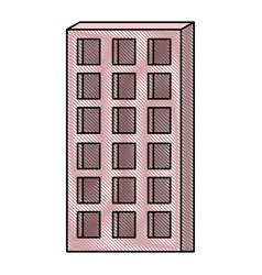 apartment building icon in colored crayon vector image