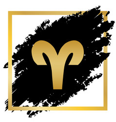 Aries sign golden icon at vector