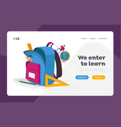 Back to school education landing page template vector