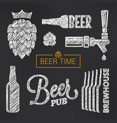 beer sketch set beer glass and bottle vector image