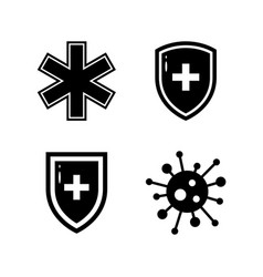 Black ans white immunity icons in flat style vector