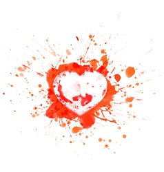 Bloody heart on red splashes and sports vector