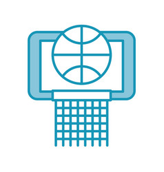 Blue basket ball in the hoop cartoon vector