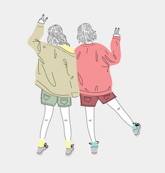 both young women dress up in fashion vector image