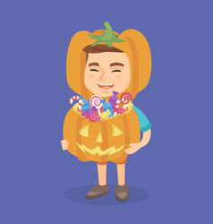 boy in a halloween costume with pumpkin basket vector image