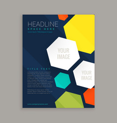 business brochure design with colorful hexagonal vector image