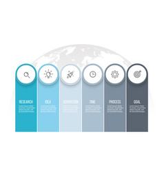 business infographics presentation with 6 columns vector image