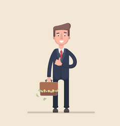 businessman with a suitcase of money vector image