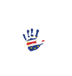 Cape verde flag and hand on white background vector