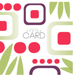 card with asian pattern sushi and leaves vector image