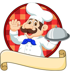Cartoon funny Chef cartoon holding platter with ok vector