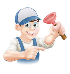 cartoon janitor or plumber vector image