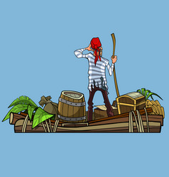Cartoon man pirate on a boat with treasures vector