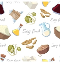 Cartoon soy food seamless pattern vector image