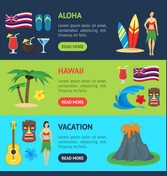cartoon symbol of hawaii banner horizontal set vector image