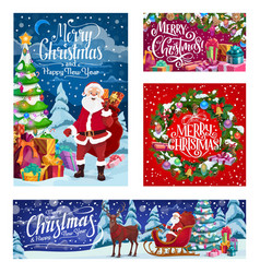 christmas santa deer sleigh winter holiday gifts vector image