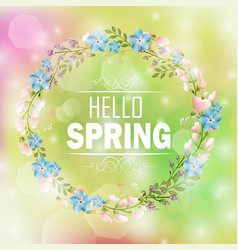 Circle floral frame with text hello spring vector
