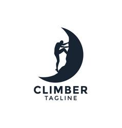 climbing silhouette logo icon design template vector image