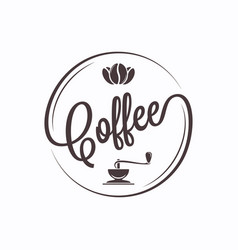 coffee round logo on white banner background vector image