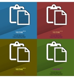 Color set blank paper Flat modern web button with vector image
