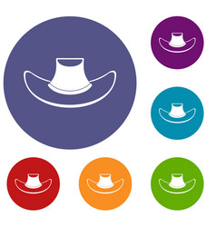 Cowboy hat icons set vector