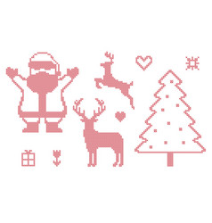 cross stitch christmas symbols vector image