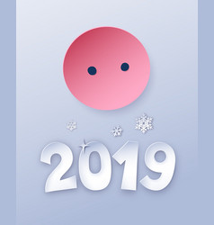 Cut paper new year postcard vector