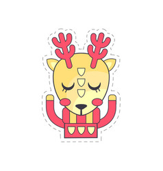 cute fawn colorful cloth patch applique vector image