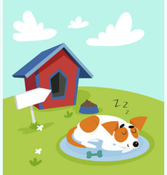 cute jack russell terrier dog sleeping on a mat in vector image