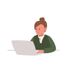 Cute teenage girl sitting at laptop computer and vector