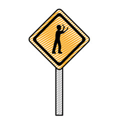 Doodle diamond caution emblem and laborer vector