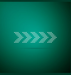 dots arrow icon isolated on green background vector image