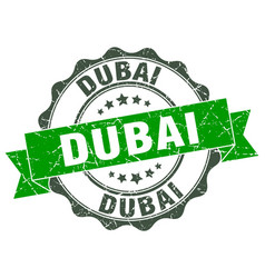 Dubai round ribbon seal vector