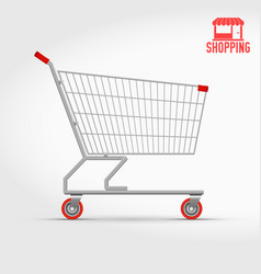 Empty supermarket shopping cart isolated on white vector
