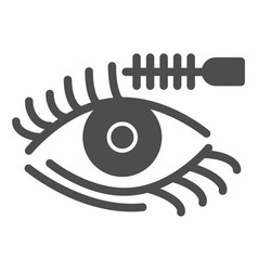 Eyelashes and brush solid icon eyes makeup vector