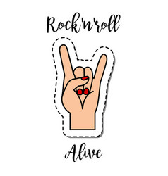 Fashion patch element rock-n-roll alive vector