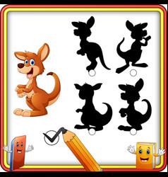 Find the correct shadow cartoon funny kangaroo e vector