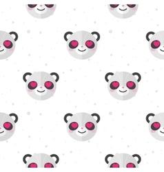 Flat cartoon panda in love seamless pattern vector